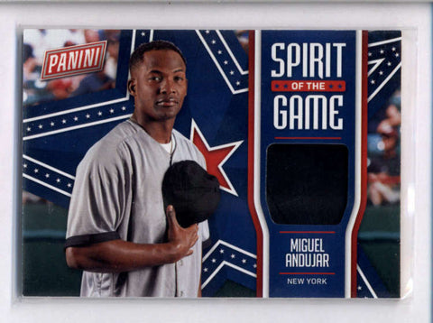 MIGUEL ANDUJAR 2018 PANINI FATHER'S DAY SPIRIT OF THE DAY USED HAT RELIC AC2246
