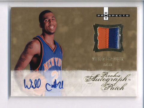 WILSON CHANDLER 2007/08 HOT PROSPECTS 3-COLOR ROOKIE PATCH AUTO #015/599 AC2013
