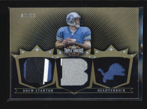 DREW STANTON 2007 TRIPLE THREADS GOLD 3-PC ROOKIE JERSEY PATCH #3/9 AB6296