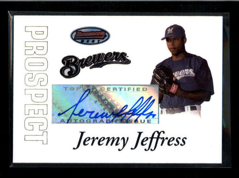 JEREMY JEFFRESS 2007 BOWMAN'S BEST ROOKIE AUTOGRAPH AUTO AC2223