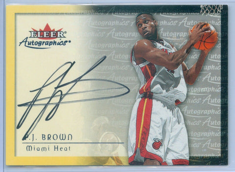 P.J. BROWN 2000/01 FLEER AUTOGRAPHICS ON CARD AUTOGRAPH AUTO AC1697