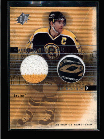 RAY BOURQUE 1999/00 SPX WINNING MATERIALS DUAL GAME JERSEY STICK COMBO AC070