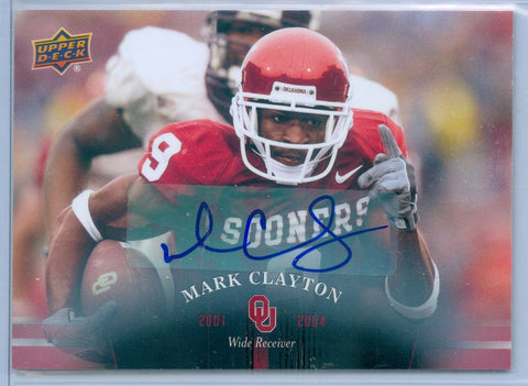 MARK CLAYTON 2011 UPPER DECK OKLAHOMA SOONERS AUTO AUTOGRAPH SP