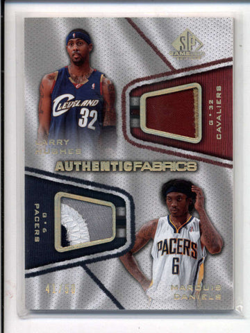 LARRY HUGHES / MARQUIS DANIELS 2007/08 SP AUTHENTIC DUAL GAME PATCH #/50 AC976