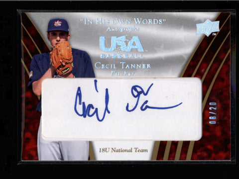 CECIL TANNER 2008 UD TEAM USA IN HIS OWN WORDS AUTOGRAPH AUTO #08/20 AC885