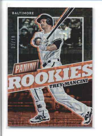 TREY MANCINI 2017 PANINI THE NATIONAL #BB40 ESCHER SQUARES PARALLEL #/10 AB9785