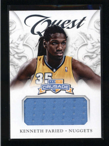 KENNETH FARIED 2012/13 PANINI CRUSADE #99 QUEST GAME USED WORN JERSEY AB9397