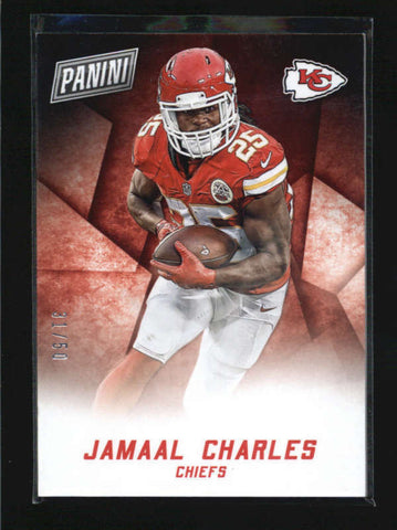 JAMAAL CHARLES 2015 PANINI BLACK FRIDAY #8 THICK STOCK PARALLEL #31/50 AB6202