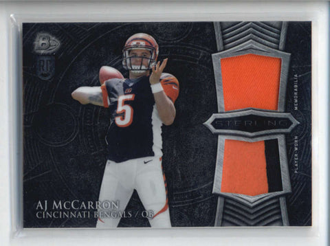 A.J. AJ MCCARRON 2014 BOWMAN STERLING DUAL ROOKIE RC USED WORN PATCH AB6471