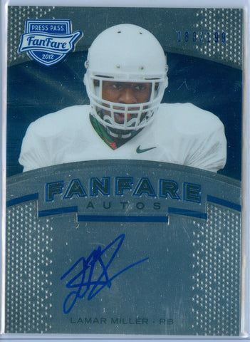 LAMAR MILLER 2012 PRESS PASS FANFARE BLUE RC ROOKIE AUTO AUTOGRAPH SP/199