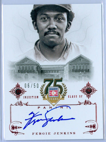 FERGIE JENKINS 2014 PANINI HALL OF FAME RED AUTO AUTOGRAPH SP/50