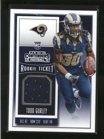 TODD GURLEY 2015 PANINI CONTENDERS ROOKIE TICKET RAMS USED WORN JERSEY RC AB9892