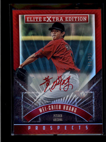 WEI-CHIEH HUANG 2015 ELITE EXTRA EDITION RED INK ROOKIE AUTO #15/25 AB8028