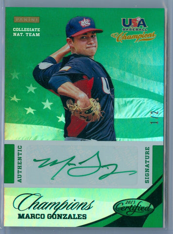 MARCO GONZALES 2013 USA BASEBALL CHAMPIONS GREEN INK AUTO AUTOGRAPH SP/2