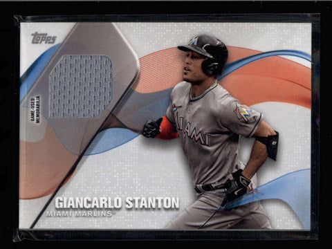 GIANCARLO STANTON 2017 TOPPS SERIES 1 MLB MATERIAL RELIC GAME USED JERSEY AC892