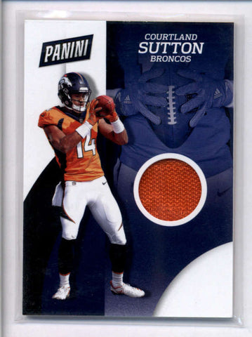COURTLAND SUTTON 2018 PANINI THE NATIONAL ROOKIE USED WORN GLOVE RELIC AC2337