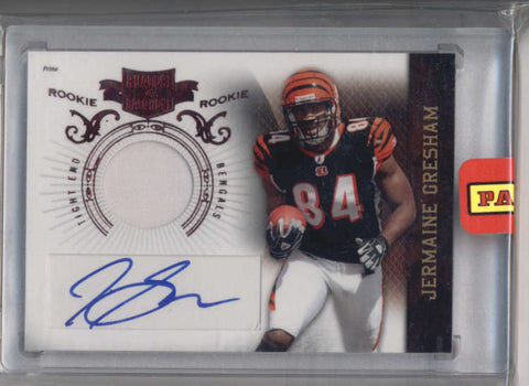 JERMAINE GRESHAM 2010 PLATES AND PATCHES ROOKIE AUTO PATCH #525/699 AB9213