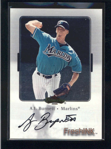 A.J. BURNETT 2000 FLEER SHOWCASE FRESH INK ON CARD AUTOGRAPH AUTO AB9747