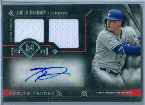 JOC PEDERSON 2017 TOPPS MUSEUM GAME USED DUAL JERSEY AUTOGRAPH SP/299