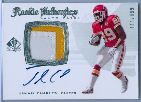 JAMAAL CHARLES 2008 08 SP AUTHENTIC RC ROOKIE PATCH AUTO AUTOGRAPH SP/999