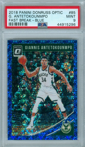GIANNIS ANTETOKOUNMPO 2018 DONRUSS OPTIC FAST BREAK BLUE SP/50 PSA 9 ( POP 1 )