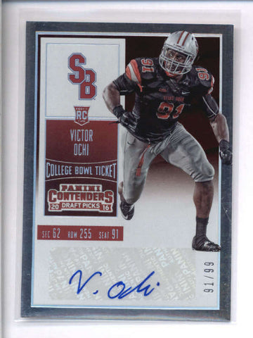 VICTOR OCHI 2016 CONTENDERS DRAFT PICKS BOWL TICKET ROOKIE AUTO #91/99 AC2149