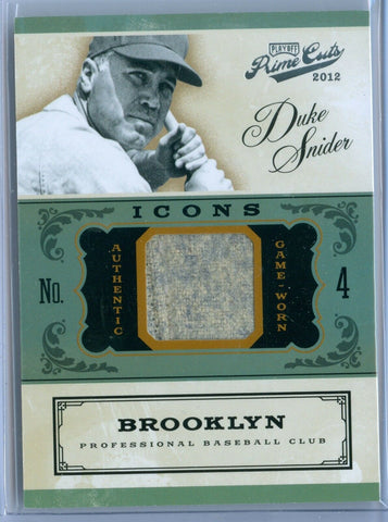 DUKE SNIDER 2012 PRIME CUTS ICONS GAME USED JERSEY RELIC SP/99