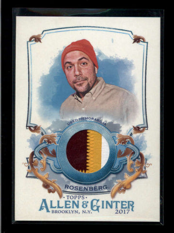 PETER ROSENBERG 2017 TOPPS ALLEN & GINTER 3-COLOR USED WORN RELIC PATCH AC2496