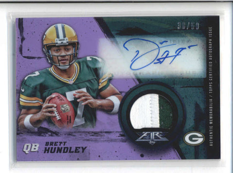 BRETT HUNDLEY 2015 TOPPS FIRE PURPLE ROOKIE PATCH AUTOGRAPH AUTO #38/50 AB9945