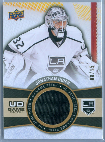 JONATHAN QUICK 2015-16 UPPER DECK GAME USED JERSEY / PATCH SP/15