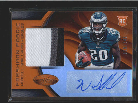 WENDELL SMALLWOOD 2016 CERTIFIED ORANGE 3-CLR ROOKIE PATCH AUTO #199/349 AC221