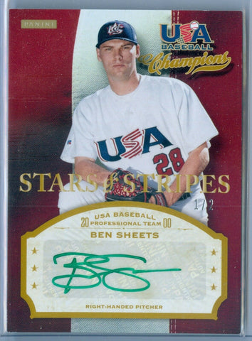 BEN SHEETS 2013 USA BASEBALL STARS & STRIPES GREEN INK AUTO AUTOGRAPH SP/2