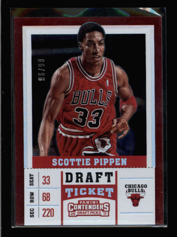 SCOTTIE PIPPEN 2017 CONTNEDERS DRAFT PICKS #44 DRAFT TICKET FOIL #96/99 AC2617