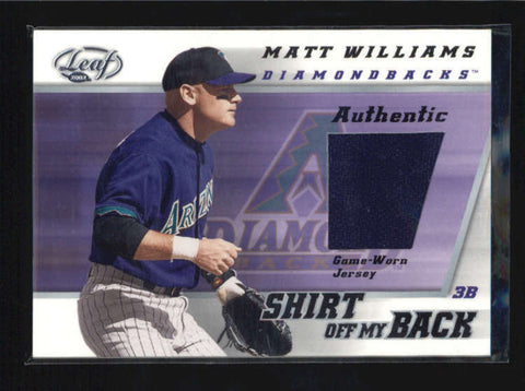MATT WILLIAMS 2002 LEAF SHIRT OFF MY BACK GAME USED WORN JERSEY AB5951