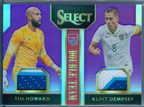 TIM HOWARD / CLINT DEMPSEY 2015 PANINI SELECT PURPLE REFRACTOR JERSEY SP/20