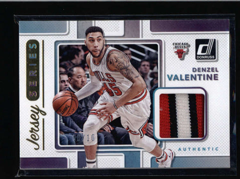 DENZEL VALENTINE 2017/18 DONRUSS JERSEY SERIES GOLD 3-CLR GAME PATCH #/10 AC731