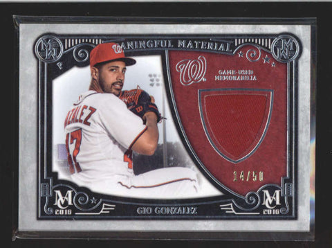 GIO GONZALEZ 2016 TOPPS MUSEUM GAME USED WORN JERSEY PATCH #14/50 AC198