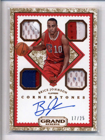 BRICE JOHNSON 2016/17 GRAND RESERVE ROOKIE GRANITE QUAD PATCH AUTO #/25 AC2385