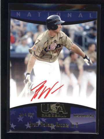 BRETT WALLACE 2007 TEAM USA BASEBALL ON CARD RED INK ROOKIE AUTO AB8849