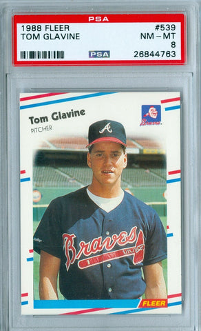 TOM GLAVINE 1988 88 FLEER RC ROOKIE #539 PSA 8
