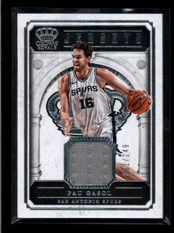 PAU GASOL 2017/18 CRWON ROYALE GAME USED WORN JERSEY #001/249 AC2424