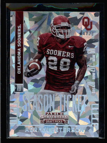 ADRIAN PETERSON 2015 CONTENDERS DRAFT PICKS #3 CRACKED ICE PARALLEL #/23 AC2605