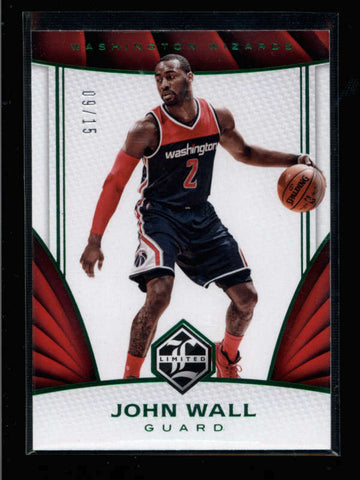 JOHN WALL 2016/17 PANINI LIMITED #63 RARE EMERALD GREEN PARALLEL #09/15 AC999