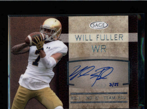 WILL FULLER 2016 SAGE ROOKIE SILVER AUTOGRAPH AUTO RC #03/25 AB8623