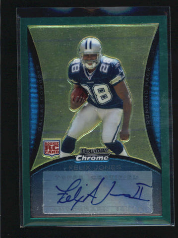 FELIX JONES 2008 BOWMAN CHROME GREEN ROOKIE RC AUTOGRAPH AUTO #118/150 AB6096