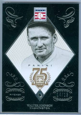 WALTER JOHNSON 2014 PANINI HALL OF FAME 75TH ANNIVERSARY #2 SAPPHIRE SP/15