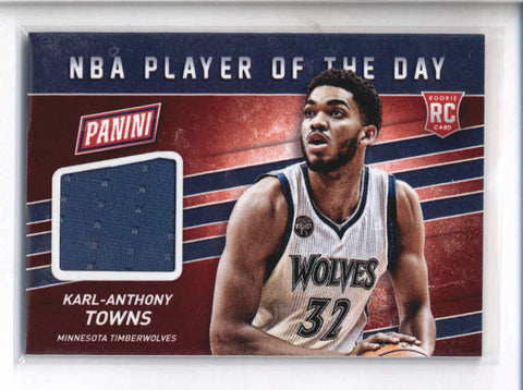 KARL-ANTHONY TOWNS 2015/16 PANINI NBA PLAYER OF THE DAY ROOKIE JERSEY AB9082