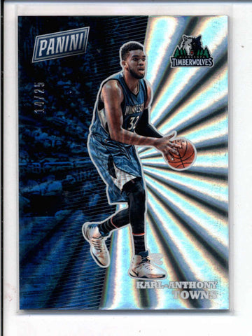 KARL-ANTHONY TOWNS 2017 PANINI THE NATIONAL RAINBOW SPOKES THICK #14/25 AC990