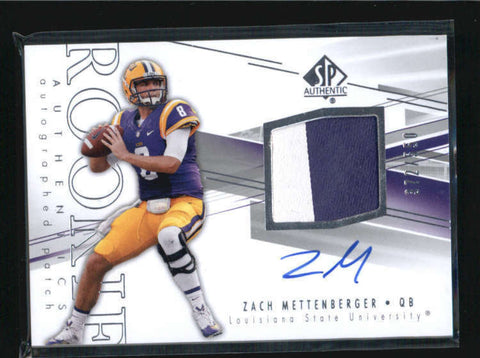 ZACH METTENBERGER 2014 SP AUTHENTIC ROOKIE WORN PATCH AUTO #372/550 AB6460
