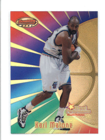 KARL MALONE 1997/98 97/98 BOWMANS BEST #97 REFRACTOR PARALLEL AB9390